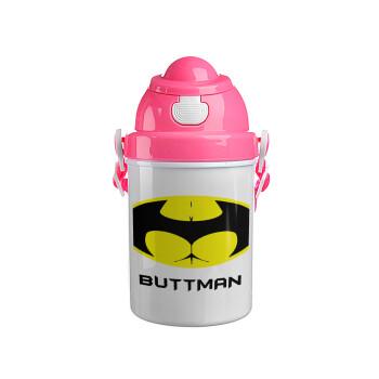 Buttman, Ροζ παιδικό παγούρι πλαστικό με καπάκι ασφαλείας, κορδόνι και καλαμάκι, 400ml