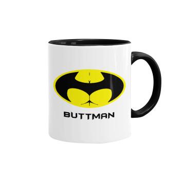Buttman, Κούπα χρωματιστή μαύρη, κεραμική, 330ml