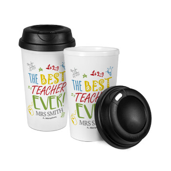 The best teacher ever!, Κούπα ταξιδιού πλαστικό (BPA-FREE) με καπάκι βιδωτό, διπλού τοιχώματος (θερμό) 330ml (1 τεμάχιο)
