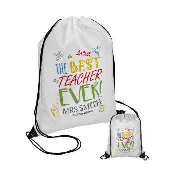 The best teacher ever!, Τσάντα πουγκί με μαύρα κορδόνια 45χ35cm (1 τεμάχιο)