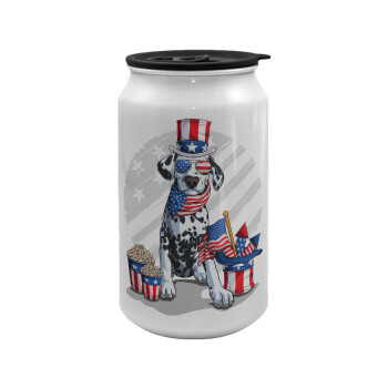 Happy 4th of July, Κούπα ταξιδιού μεταλλική με καπάκι (tin-can) 500ml