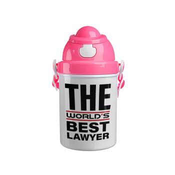The world's best Lawyer, Ροζ παιδικό παγούρι πλαστικό με καπάκι ασφαλείας, κορδόνι και καλαμάκι, 400ml