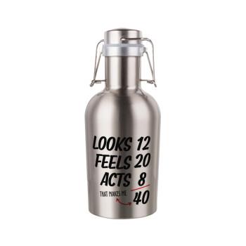 Looks, feels, acts LIKE your AGE, Μεταλλικό παγούρι Inox (Stainless steel) με καπάκι ασφαλείας 1L