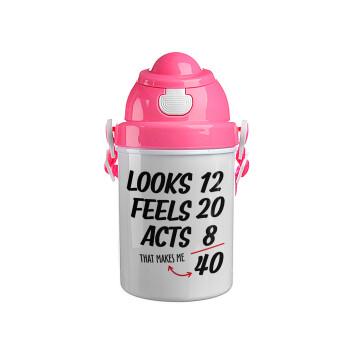 Looks, feels, acts LIKE your AGE, Ροζ παιδικό παγούρι πλαστικό με καπάκι ασφαλείας, κορδόνι και καλαμάκι, 400ml