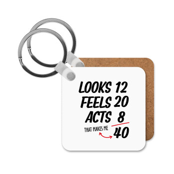 Looks, feels, acts LIKE your AGE, Μπρελόκ Ξύλινο τετράγωνο MDF 5cm (3mm πάχος)
