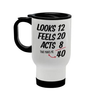 Looks, feels, acts LIKE your AGE, Κούπα ταξιδιού ανοξείδωτη με καπάκι, διπλού τοιχώματος (θερμό) λευκή 450ml
