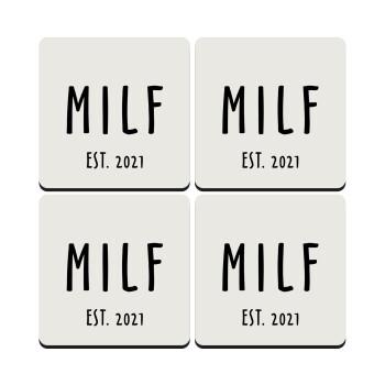 MILF, ΣΕΤ 4 Σουβέρ ξύλινα τετράγωνα