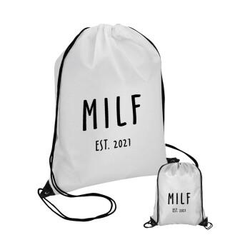 MILF, Τσάντα πουγκί με μαύρα κορδόνια 45χ35cm (1 τεμάχιο)