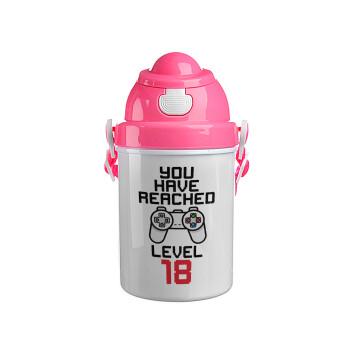 You have Reached level AGE, Ροζ παιδικό παγούρι πλαστικό με καπάκι ασφαλείας, κορδόνι και καλαμάκι, 400ml