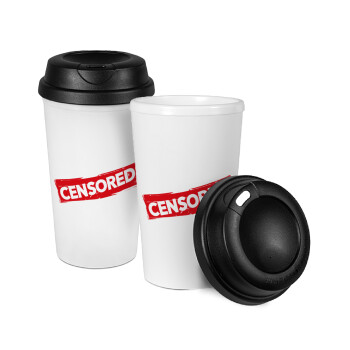 Censored, Κούπα ταξιδιού πλαστικό (BPA-FREE) με καπάκι βιδωτό, διπλού τοιχώματος (θερμό) 330ml (1 τεμάχιο)