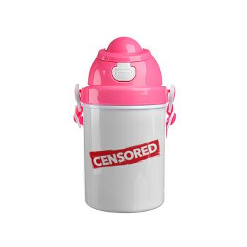 Censored, Ροζ παιδικό παγούρι πλαστικό με καπάκι ασφαλείας, κορδόνι και καλαμάκι, 400ml