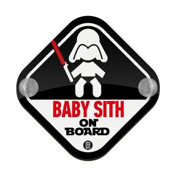 Baby SITH on board, Σήμανση αυτοκινήτου Baby On Board ξύλινο με βεντουζάκια (16x16cm)
