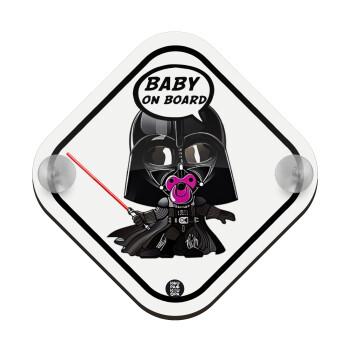 Baby darth vader pink, Σήμανση αυτοκινήτου Baby On Board ξύλινο με βεντουζάκια (16x16cm)
