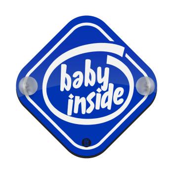Baby inside!, Σήμανση αυτοκινήτου Baby On Board ξύλινο με βεντουζάκια (16x16cm)