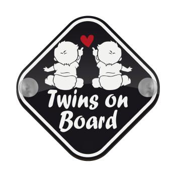 Twins on board καρδούλα, Σήμανση αυτοκινήτου Baby On Board ξύλινο με βεντουζάκια (16x16cm)