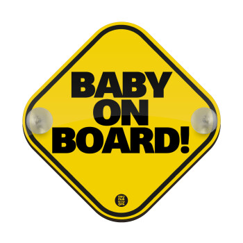 Baby on Board Classic, Σήμανση αυτοκινήτου Baby On Board ξύλινο με βεντουζάκια (16x16cm)