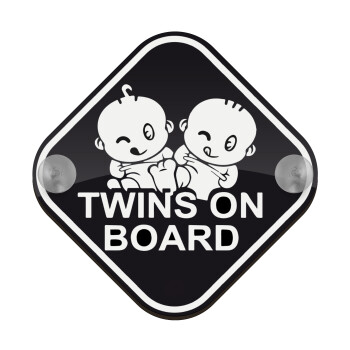 Twins on board, Σήμανση αυτοκινήτου Baby On Board ξύλινο με βεντουζάκια (16x16cm)