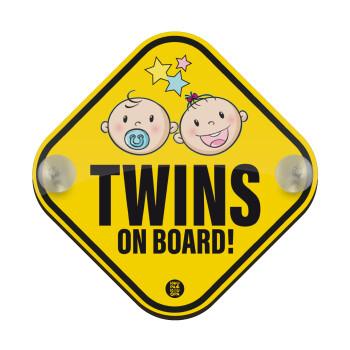 Twins on board, boy and girl, Σήμανση αυτοκινήτου Baby On Board ξύλινο με βεντουζάκια (16x16cm)