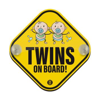 Twins on board, boys, Σήμανση αυτοκινήτου Baby On Board ξύλινο με βεντουζάκια (16x16cm)