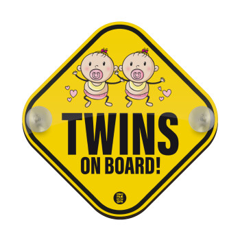Twins on board, girls, Σήμανση αυτοκινήτου Baby On Board ξύλινο με βεντουζάκια (16x16cm)