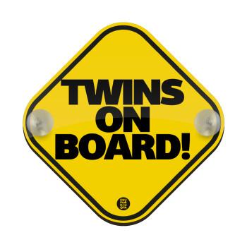 Twins on board classic, Σήμανση αυτοκινήτου Baby On Board ξύλινο με βεντουζάκια (16x16cm)
