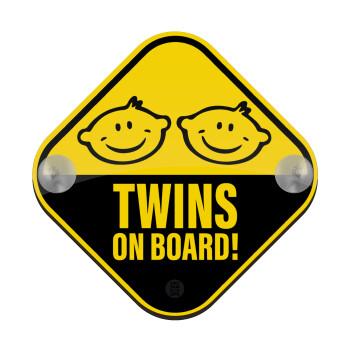 Twins on board babys, Σήμανση αυτοκινήτου Baby On Board ξύλινο με βεντουζάκια (16x16cm)