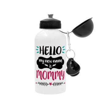 Hello, my new name is Mommy, Μεταλλικό παγούρι ποδηλάτου Λευκό 500ml