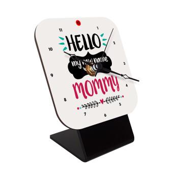 Hello, my new name is Mommy, Επιτραπέζιο ρολόι ξύλινο με δείκτες (10cm)