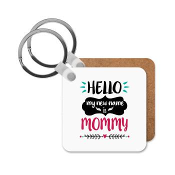 Hello, my new name is Mommy, Μπρελόκ Ξύλινο τετράγωνο MDF 5cm (3mm πάχος)
