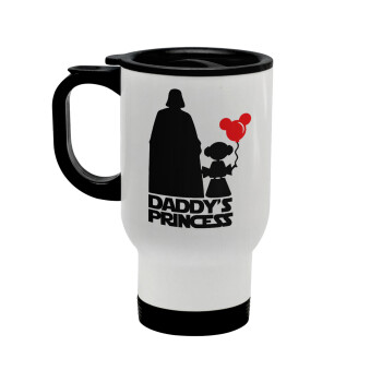 Daddy's princess, Κούπα ταξιδιού ανοξείδωτη με καπάκι, διπλού τοιχώματος (θερμό) λευκή 450ml