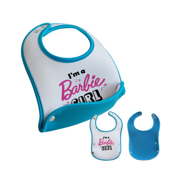 I'm Barbie girl, Σαλιάρα μωρού Μπλε αγοράκι, 100% Neoprene (18x19cm)