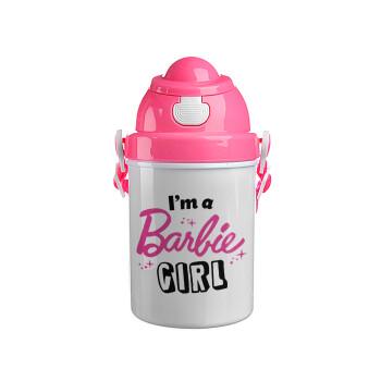 I'm Barbie girl, Ροζ παιδικό παγούρι πλαστικό με καπάκι ασφαλείας, κορδόνι και καλαμάκι, 400ml