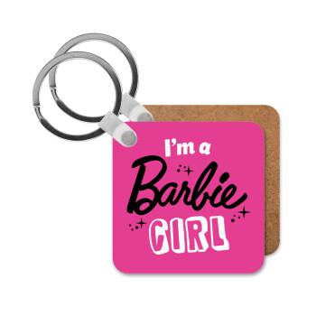I'm Barbie girl, Μπρελόκ Ξύλινο τετράγωνο MDF 5cm (3mm πάχος)