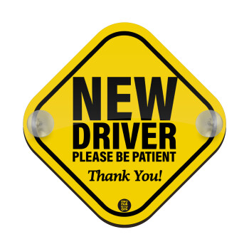 New driver, please be patient!, Σήμανση αυτοκινήτου Baby On Board ξύλινο με βεντουζάκια (16x16cm)