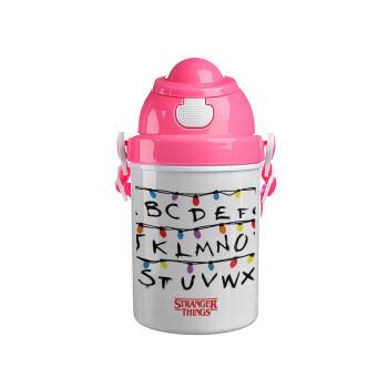Stranger Things ABC, Ροζ παιδικό παγούρι πλαστικό με καπάκι ασφαλείας, κορδόνι και καλαμάκι, 400ml