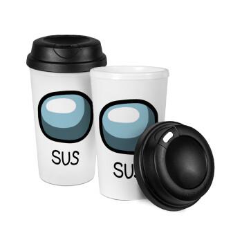 Among US SUS!!!, Κούπα ταξιδιού πλαστικό (BPA-FREE) με καπάκι βιδωτό, διπλού τοιχώματος (θερμό) 330ml (1 τεμάχιο)