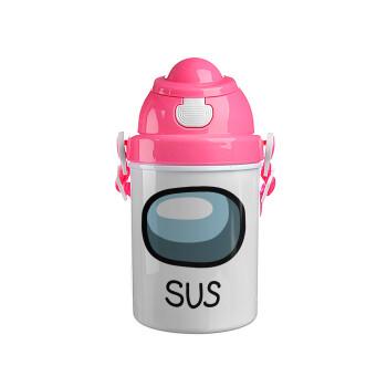 Among US SUS!!!, Ροζ παιδικό παγούρι πλαστικό με καπάκι ασφαλείας, κορδόνι και καλαμάκι, 400ml