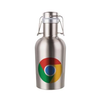 Chrome, Μεταλλικό παγούρι Inox (Stainless steel) με καπάκι ασφαλείας 1L