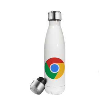 Chrome, Μεταλλικό παγούρι θερμός Λευκό (Stainless steel 304), διπλού τοιχώματος, 500ml