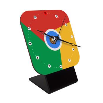 Chrome, Επιτραπέζιο ρολόι ξύλινο με δείκτες (10cm)