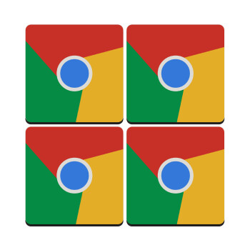 Chrome, ΣΕΤ 4 Σουβέρ ξύλινα τετράγωνα