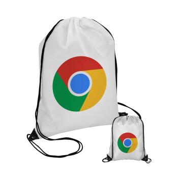 Chrome, Τσάντα πουγκί με μαύρα κορδόνια 45χ35cm (1 τεμάχιο)