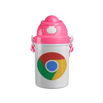Chrome, Ροζ παιδικό παγούρι πλαστικό με καπάκι ασφαλείας, κορδόνι και καλαμάκι, 400ml