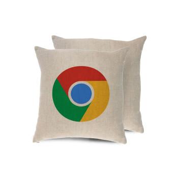 Chrome, Μαξιλάρι καναπέ ΛΙΝΟ 40x40cm περιέχεται το γέμισμα