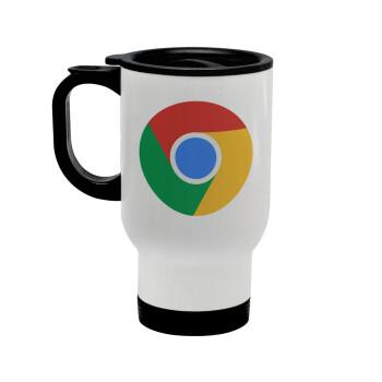 Chrome, Κούπα ταξιδιού ανοξείδωτη με καπάκι, διπλού τοιχώματος (θερμό) λευκή 450ml