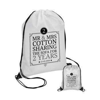 Mr & Mrs Sharing the sofa, Τσάντα πουγκί με μαύρα κορδόνια 45χ35cm (1 τεμάχιο)