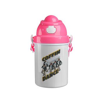 Coffin Dance!, Ροζ παιδικό παγούρι πλαστικό με καπάκι ασφαλείας, κορδόνι και καλαμάκι, 400ml