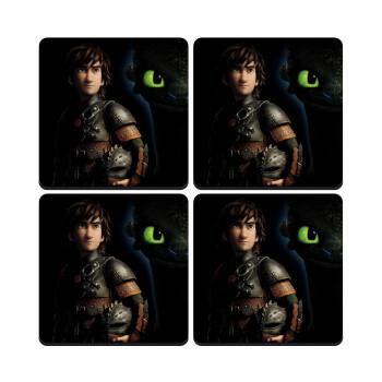How to train your dragon Night Fury, ΣΕΤ 4 Σουβέρ ξύλινα τετράγωνα