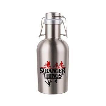 Stranger Things upside down, Μεταλλικό παγούρι Inox (Stainless steel) με καπάκι ασφαλείας 1L