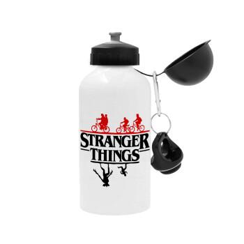 Stranger Things upside down, Μεταλλικό παγούρι ποδηλάτου Λευκό 500ml